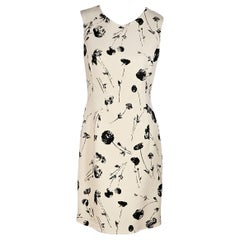 Oscar De La Renta Black And White Wool-Blend Floral-Printed Dress