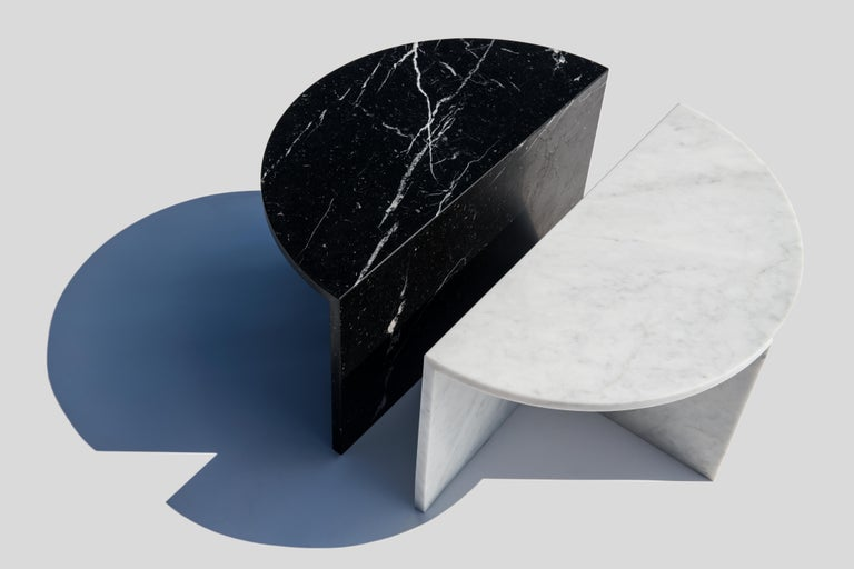 Organic Modern Black and White Pair of Marble Coffee Tables, Sebastian Scherer For Sale