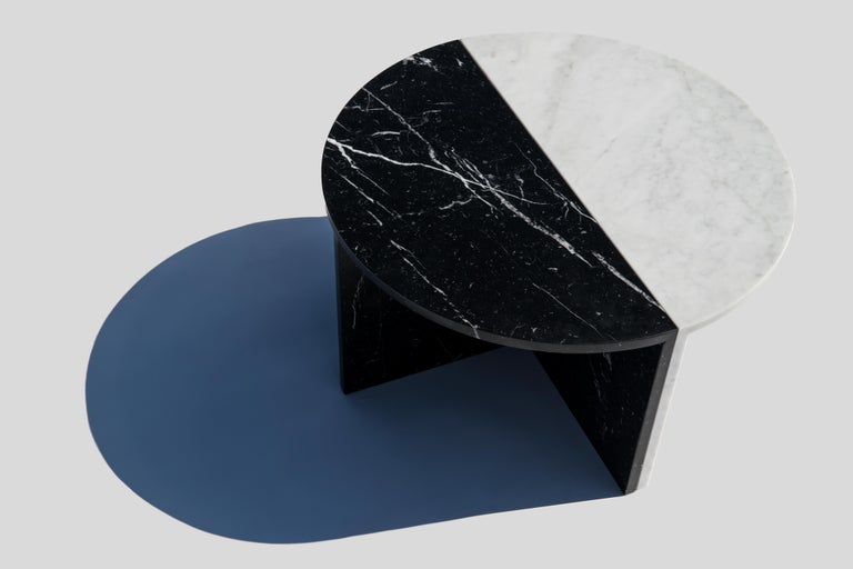 German Black and White Pair of Marble Coffee Tables, Sebastian Scherer For Sale