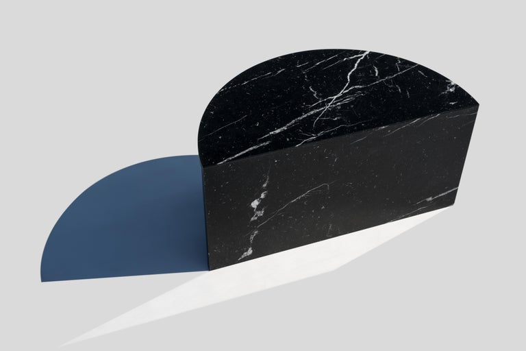 Black and White Pair of Marble Coffee Tables, Sebastian Scherer In New Condition For Sale In Geneve, CH