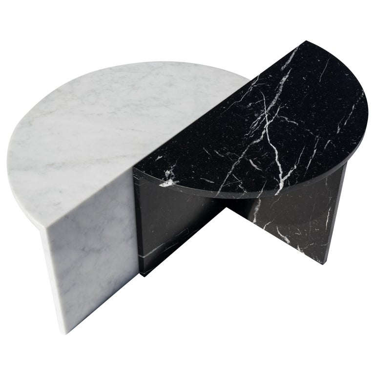 Black and White Pair of Marble Coffee Tables, Sebastian Scherer For Sale