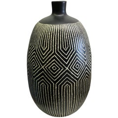 Black and White Patterned Vase, Thailand, Contemporary