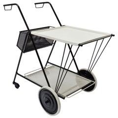 Black and White Perforated Metal Bar Cart, Mathieu Mathegot Style, 1950s