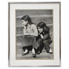 "Black and White Photograph Joseph A. Bernstein ""Me & My Shadow"" Two Girls"