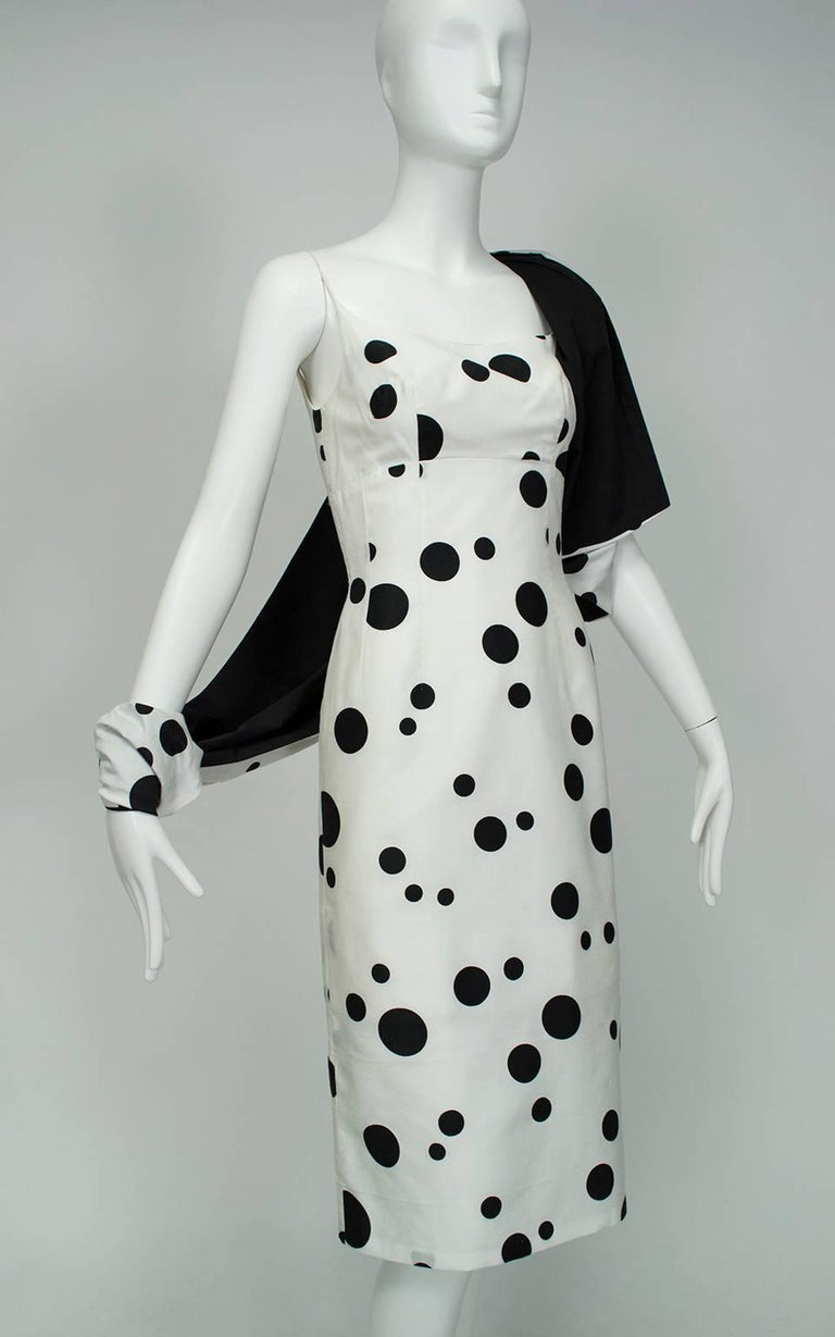Black And White Polka Dot Wiggle Dress And Reversible Wrap