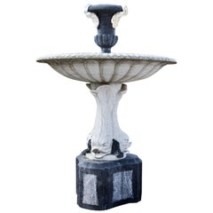 Black and White Renaissance-Style Marble Fountain, Italy, circa 21st Century
