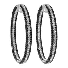 Black and White Round Diamond Pave Hoop Earrings