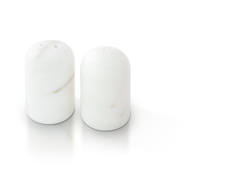 Italian Black and White Rounded Salt and Pepper Set For Sale