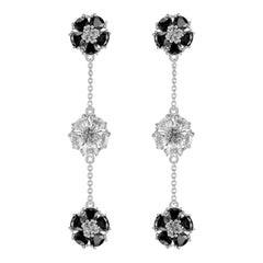 Black and White Sapphire Blossom Gentile Alternating Chandelier Earrings