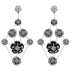 Black and White Sapphire Blossom Triple-Tier Chandelier Earrings