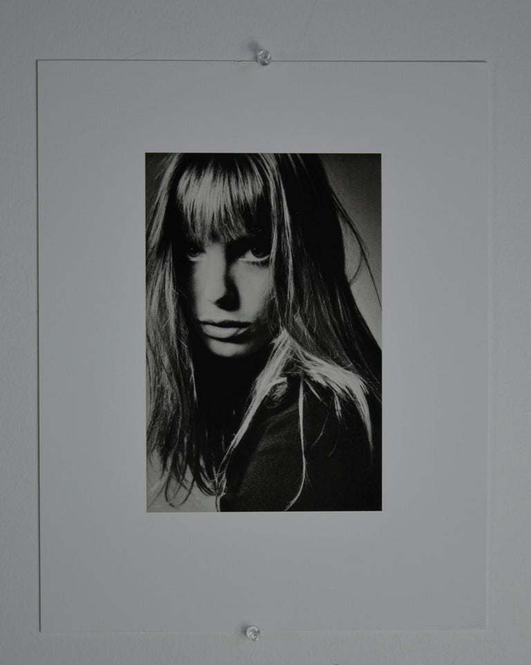 Mid-Century Modern Black and White Sheet Fed Gravure Photo by Jeanloup Sieff of Jane Birkin, 1968 For Sale