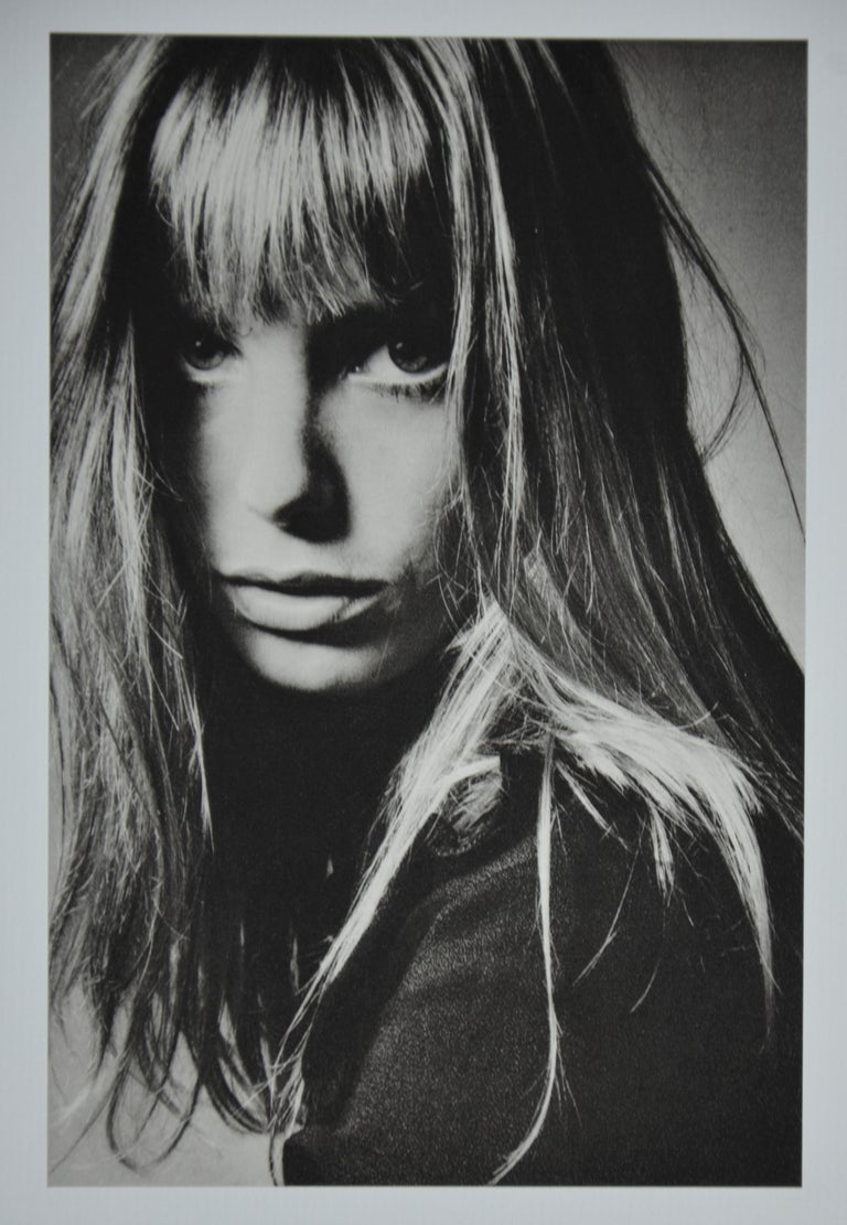 French Black and White Sheet Fed Gravure Photo by Jeanloup Sieff of Jane Birkin, 1968 For Sale