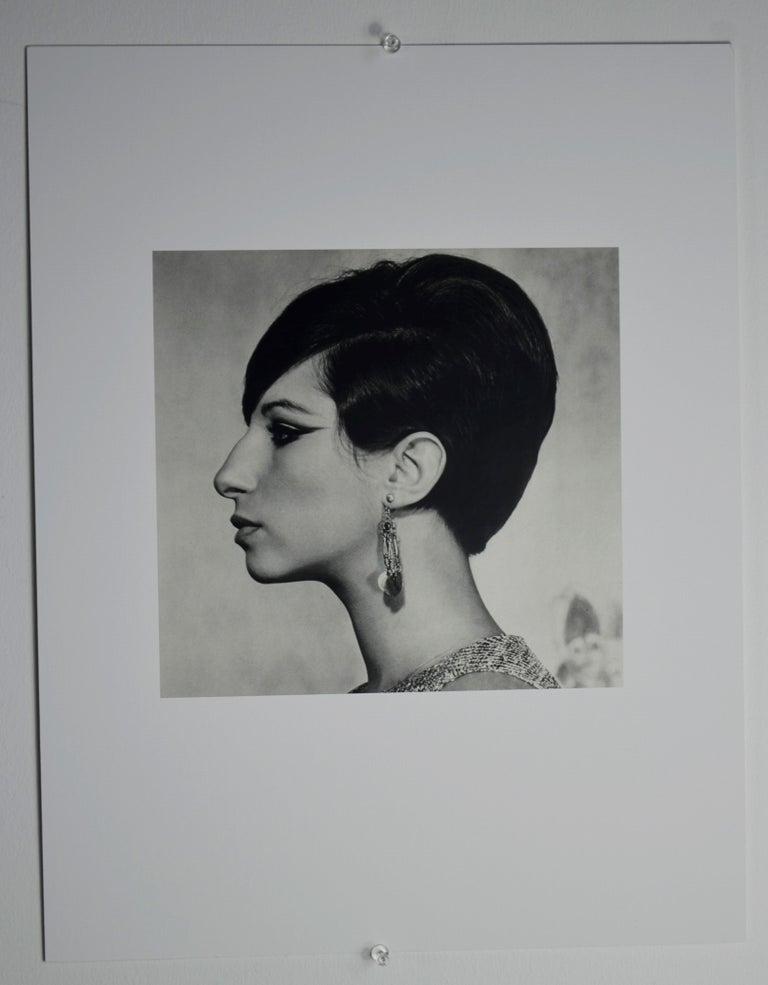 Mid-Century Modern Black and White Sheet Fed Gravure Photo Philippe Halsman, Barbra Streisand 1970s For Sale