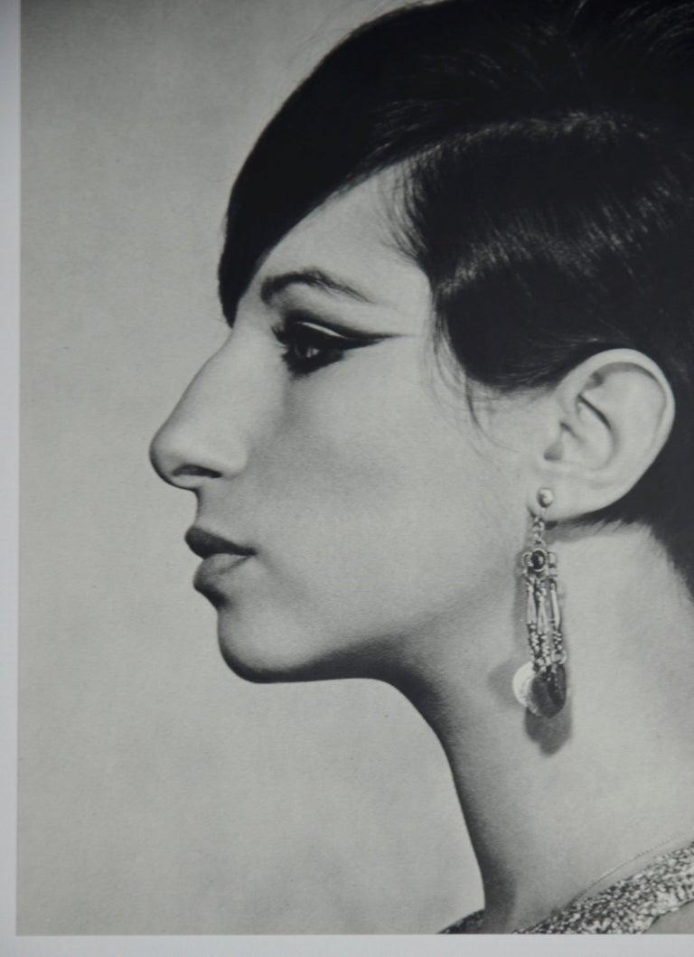 Italian Black and White Sheet Fed Gravure Photo Philippe Halsman, Barbra Streisand 1970s For Sale