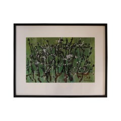 Black and White Splat on Emerald Gouache by Honora Berg