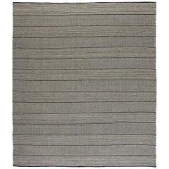 Black and White Striped Custom Flat-Weave