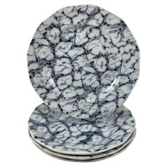 Black and White Transferware Marble or Cracked Ice Ironstone Plates, Set of 4