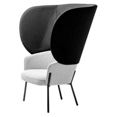 Black & White Upholstered Bergère Chair by Marco Zito, In stock in Los Angeles