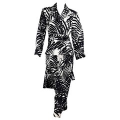 Black And White Vintage Saint Laurent Rive Gauche Printed Suit Set