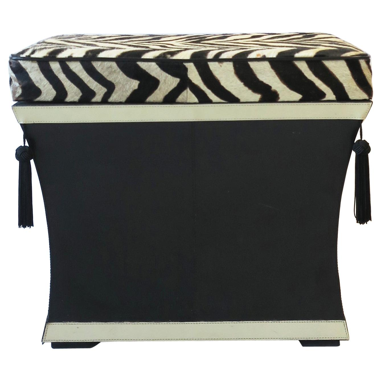 Black and White Zebra Hide Bench or Stool with Tassels and Storage, circa 1990s
