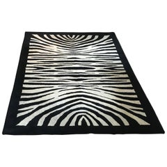Black and White Zebra Wool Carpet, Belgium, 1975