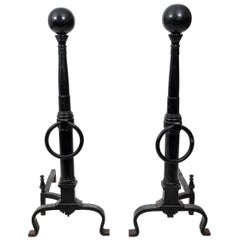Black and Wrought Iron Andirons