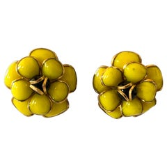 """Black and Yellow Camellia """"pate de verre"""" Statement Earrings"""