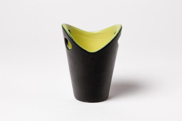 Pol Chambost  Black and yellow ceramic vase by french artist.  Original perfect conditions  Signed under the base  Dimensions : Height 10cm, large 8cm.