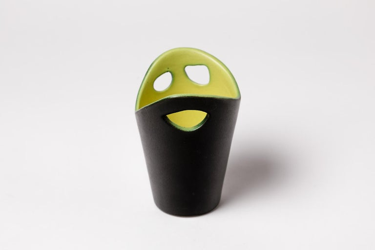 Mid-Century Modern Black and Yellow Ceramic Vase by Pol Chambost French Mid-20th Century Art For Sale