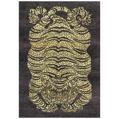 Black and Yellow Handmade Wool and Silk Rug from Tiger Collection by Gordian