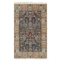 Black Animal Motif Vintage Nain Persian Rug