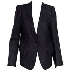 Black Ann Demeulemeester Leather Blazer