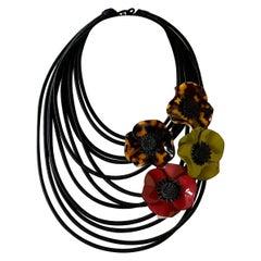 Black Architectural Multi Poppy Statement Necklace