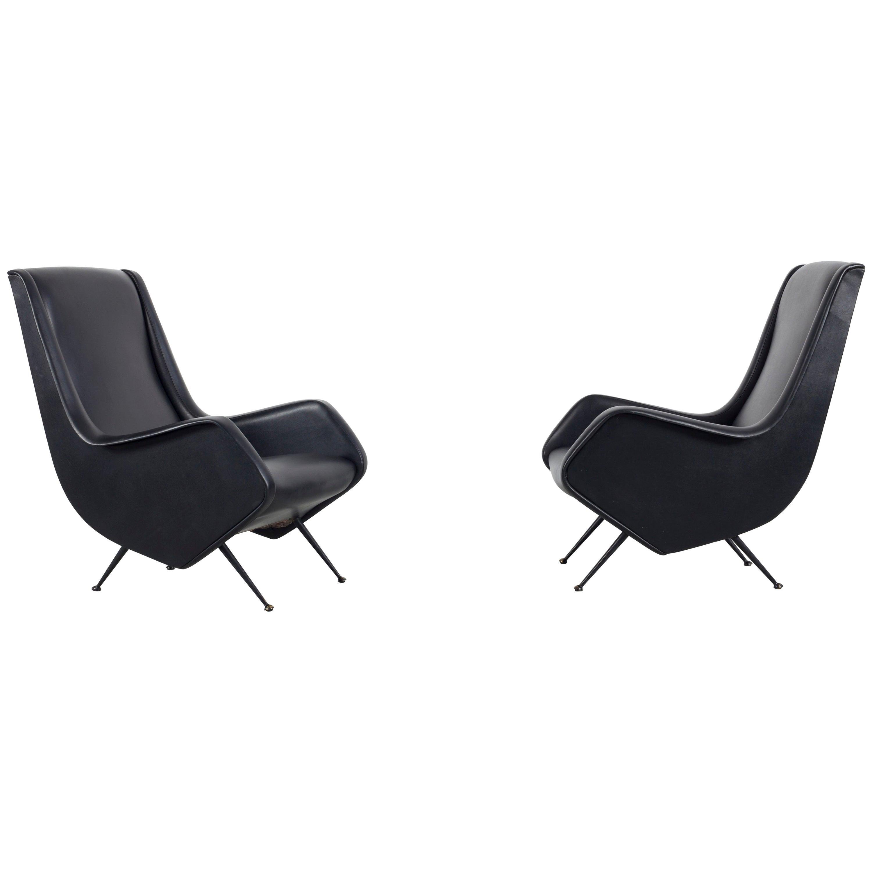 Black Armchair Design by Aldo Morbelli, Made by Isa Bergamo, Italy, 1950s