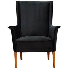 Black Armchair Teak Retro 1960s Scandinavian Design