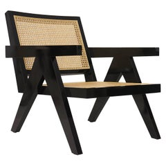 Black Armchair with Rattan Caning