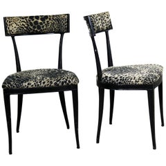 Black Art Deco & Animal Print Side Chairs Cast Aluminium Crucible Products, Pair