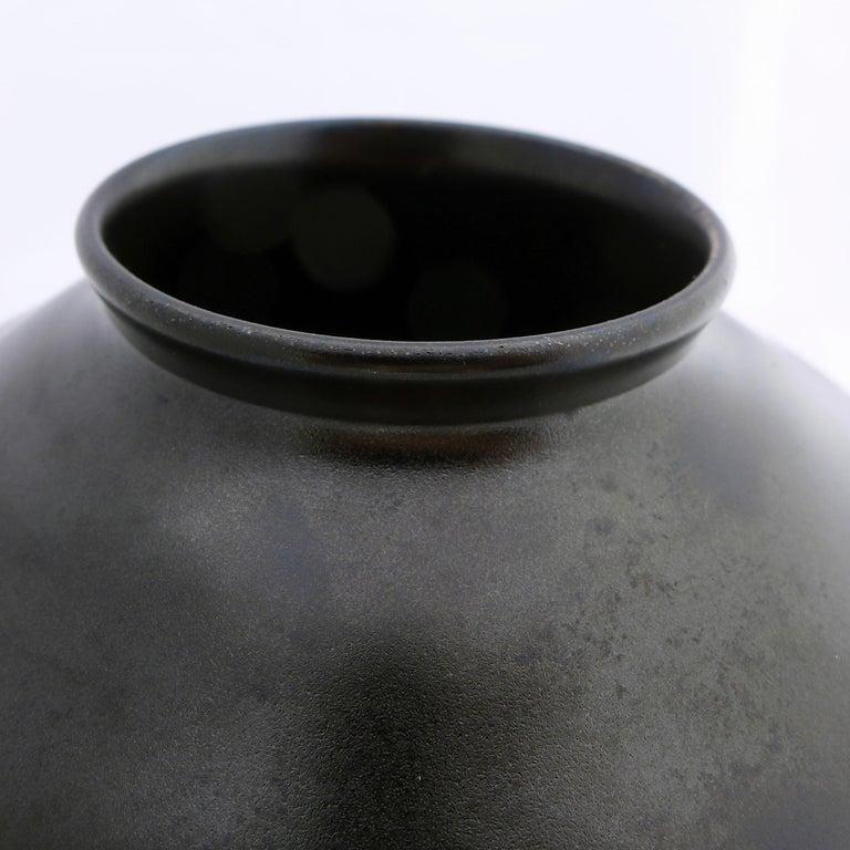 Dutch Black Art Deco Ceramic Vase For Sale