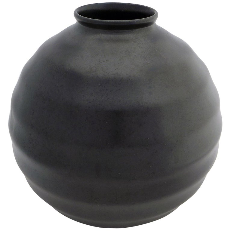 Black Art Deco Ceramic Vase For Sale
