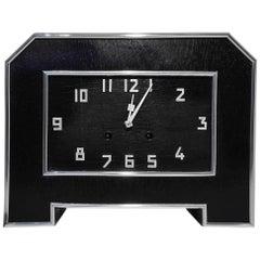 Schwarze Art Deco Schreibtischuhr