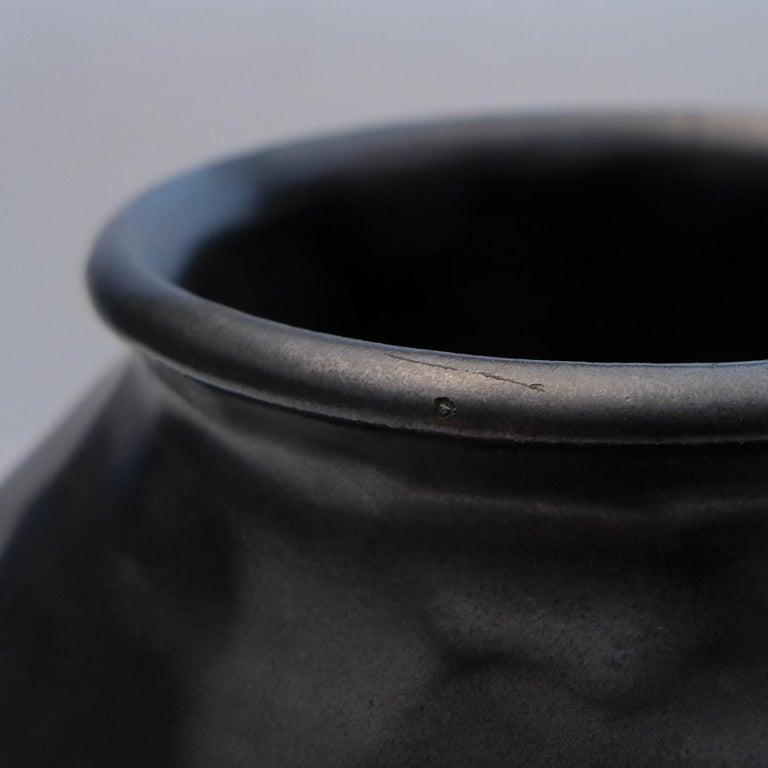 Dutch Black Art Deco Dimple Vase For Sale