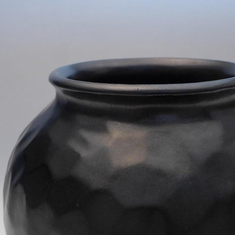 Cast Black Art Deco Dimple Vase For Sale