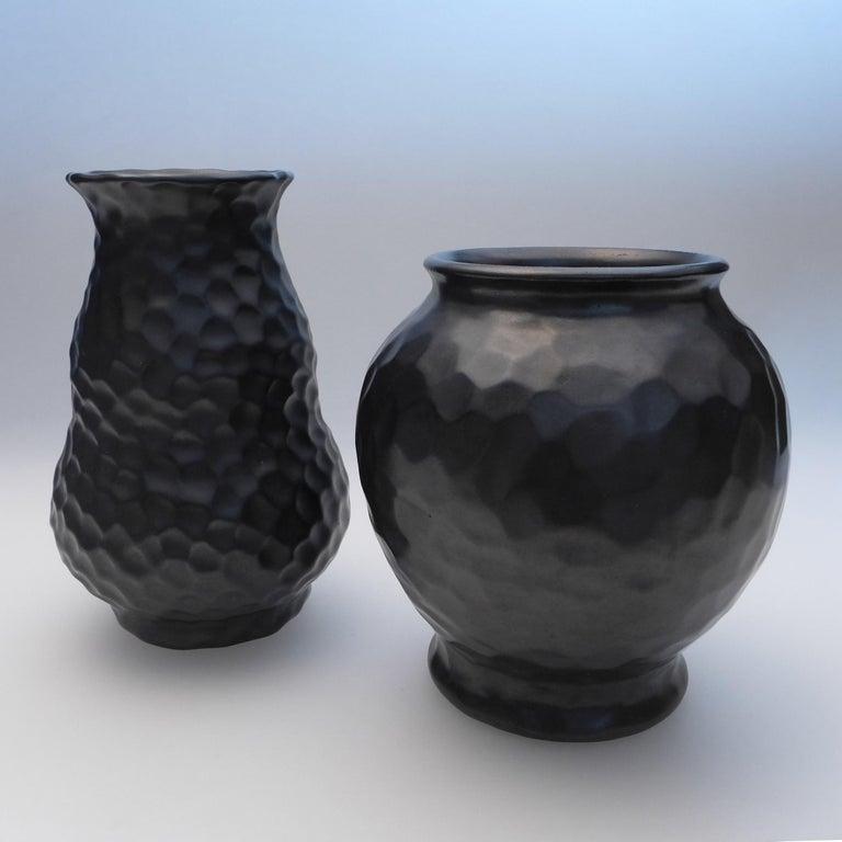 Black Art Deco Dimple Vase For Sale 1