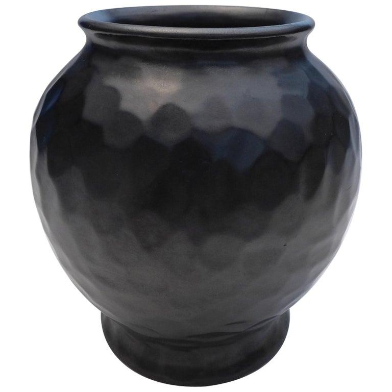 Black Art Deco Dimple Vase For Sale