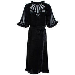 Black Art Deco Starburst Burnout Velvet Cocktail Dress - Medium, 1930s