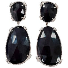 Black Art Deco Style Earrings Set with White Diamonds in 18 Karat Gold