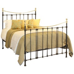 Black Art Nouveau Brass and Iron Bed MK220