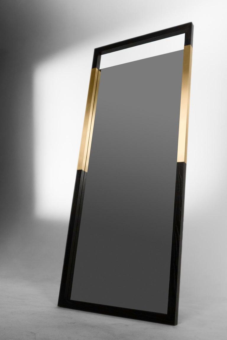 Modern Black Ashwood Standing Mirror with Brass Inlay