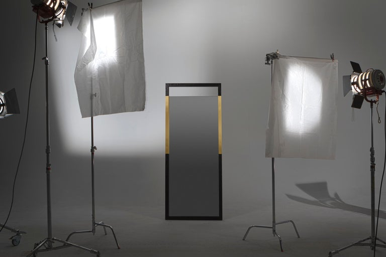 American Black Ashwood Standing Mirror with Brass Inlay