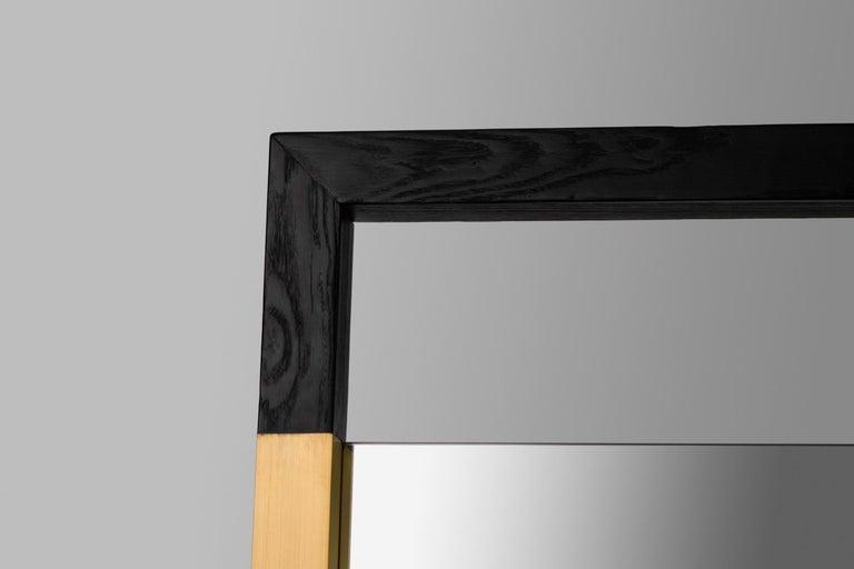 Metalwork Black Ashwood Standing Mirror with Brass Inlay